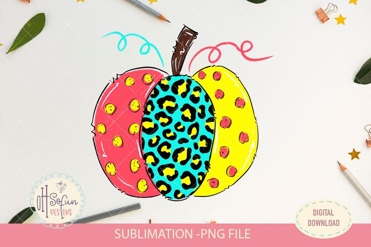 Leopard animal print, halloween pumpkin, sublimation design example image 1