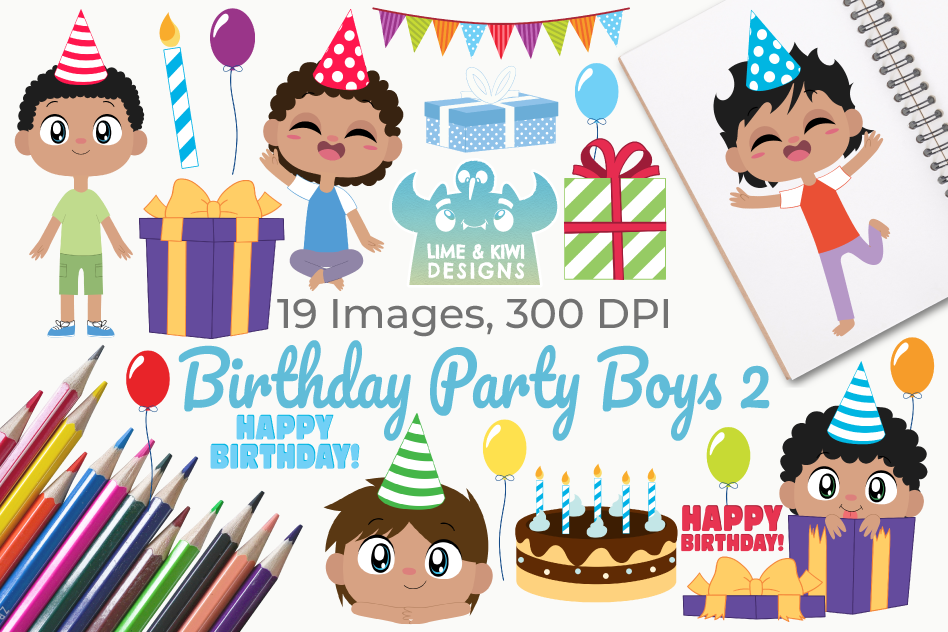 Birthday Party Boys 2 Clipart, Instant Download Vector Art example image 1