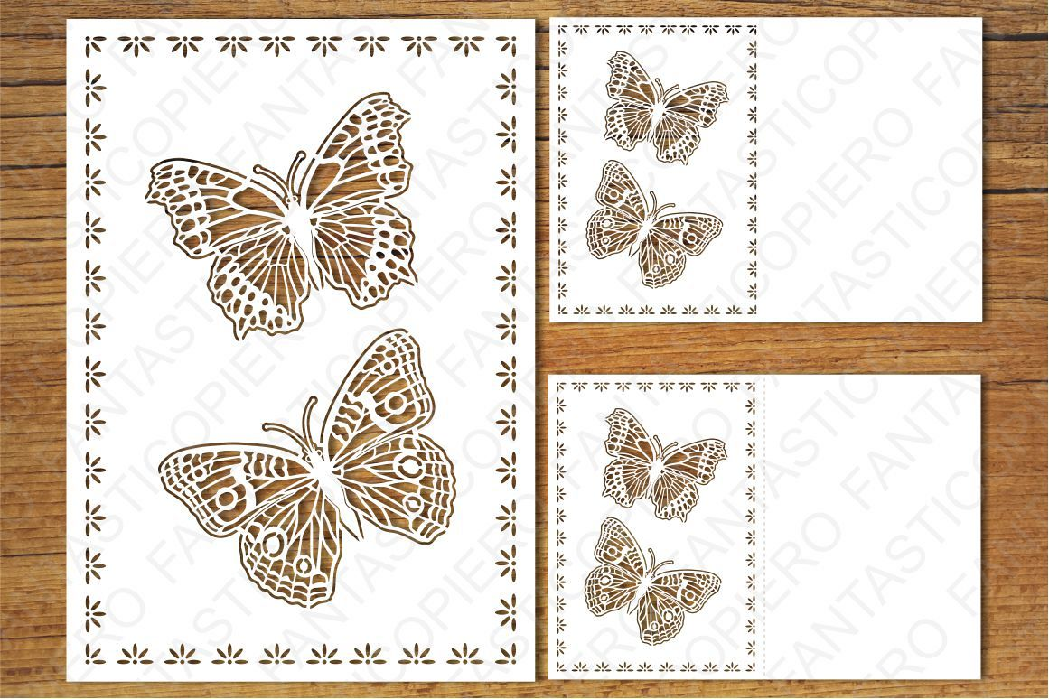 Greeting Card Butterflies SVG files for Silhouette, Cricut. example image 1