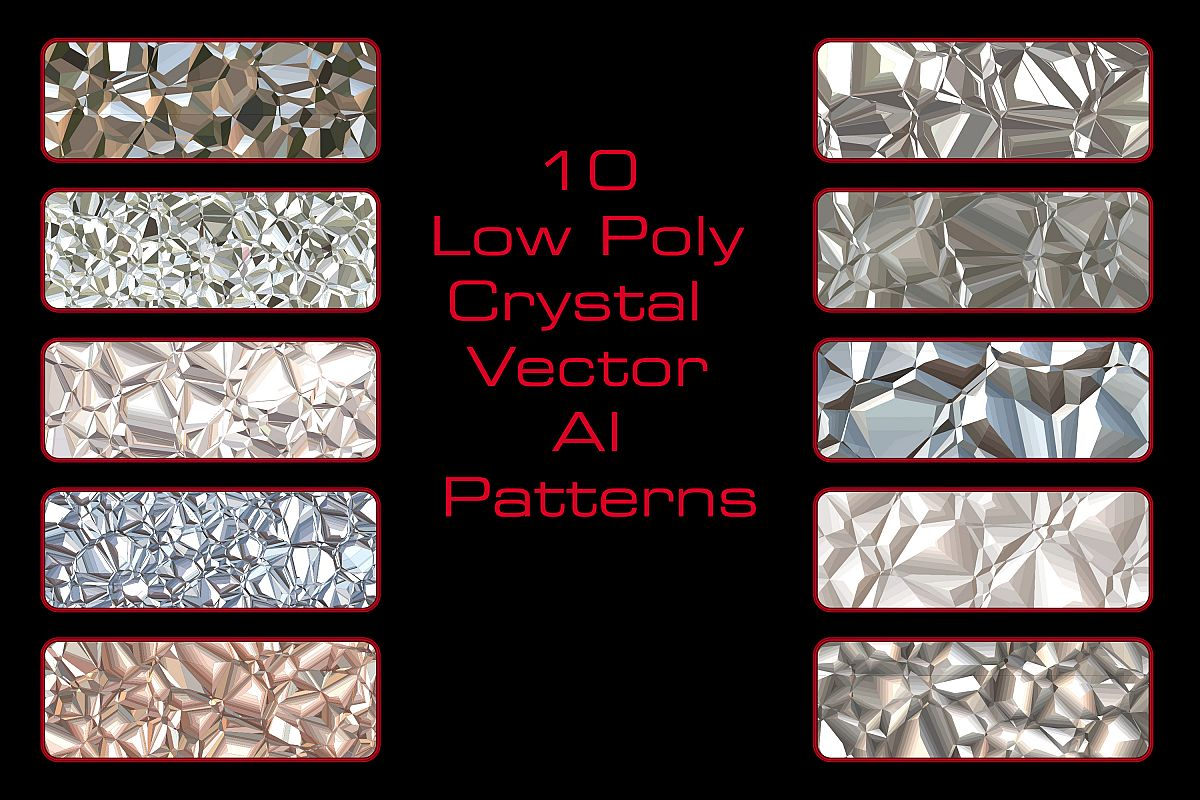 10 Low Poly Crystal Repeating Adobe Illustrator Patterns example image 1