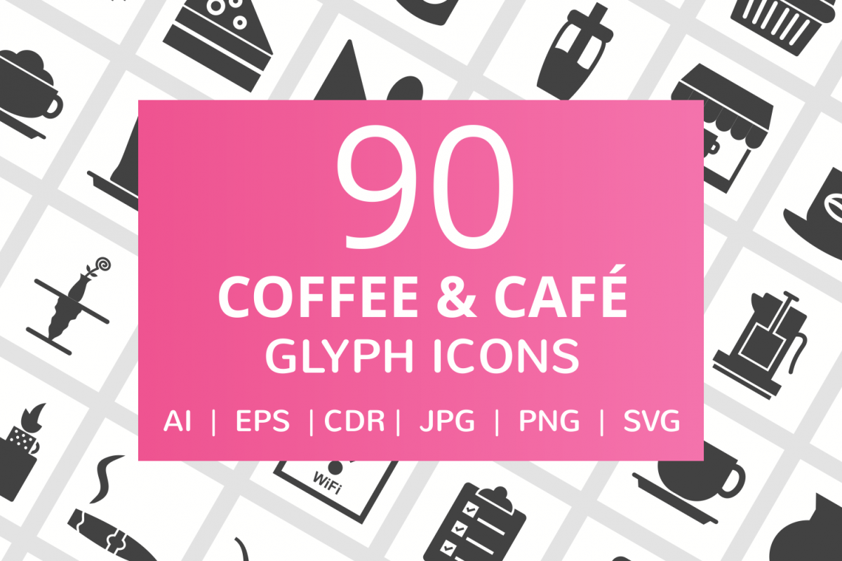 90 Coffee & Cafe Glyph Icons example image 1