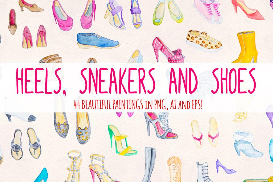 44 Heels, Sneakers and Ladies Shoes Watercolour Paintings example image 1