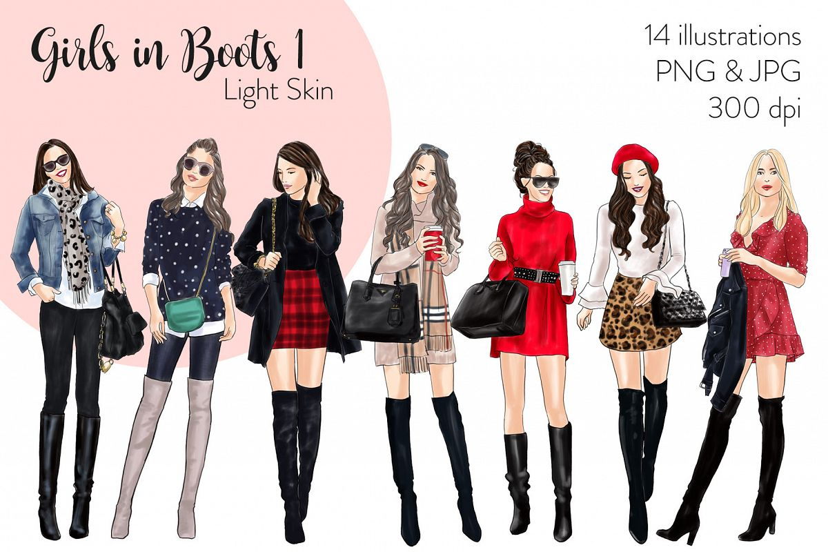 Fashion illustration clipart - Girls in Boots 1 - Light Skin example image 1