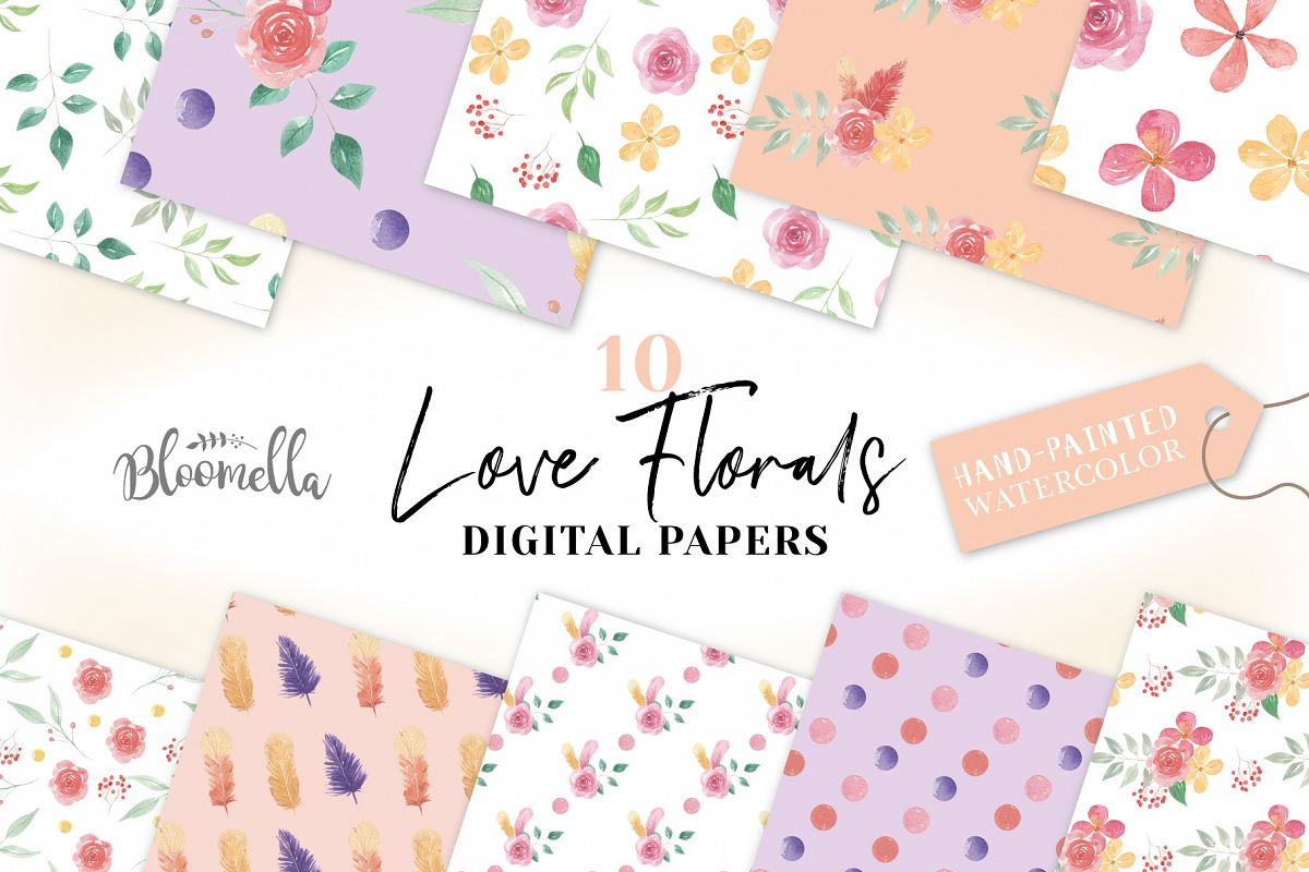 Feathers Seamless Patterns Digital Papers Flowers Pretty example image 1