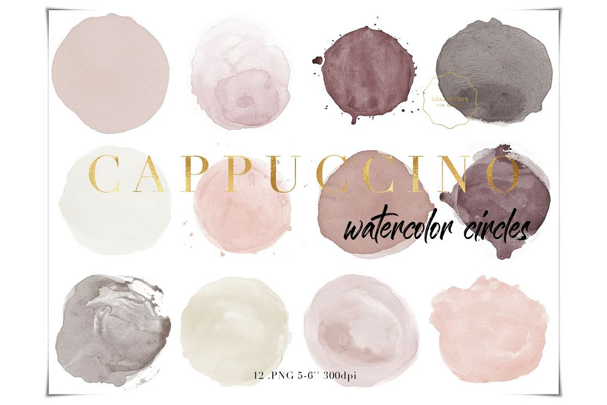Nude Watercolor Circles Clipart example image 1