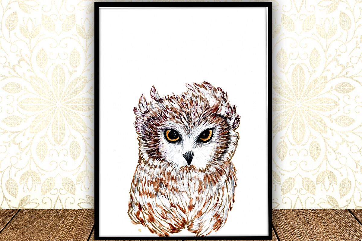 Baby Owl Watercolor digital Print Forest Nursery Art Poster example image 1