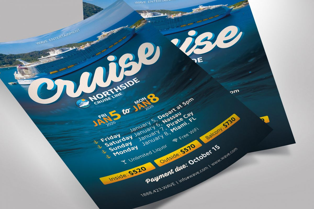 Cruise Travel Flyer Photoshop Template example image 1