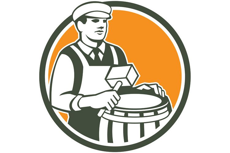 Cooper Barrel Maker Drum Retro Circle example image 1