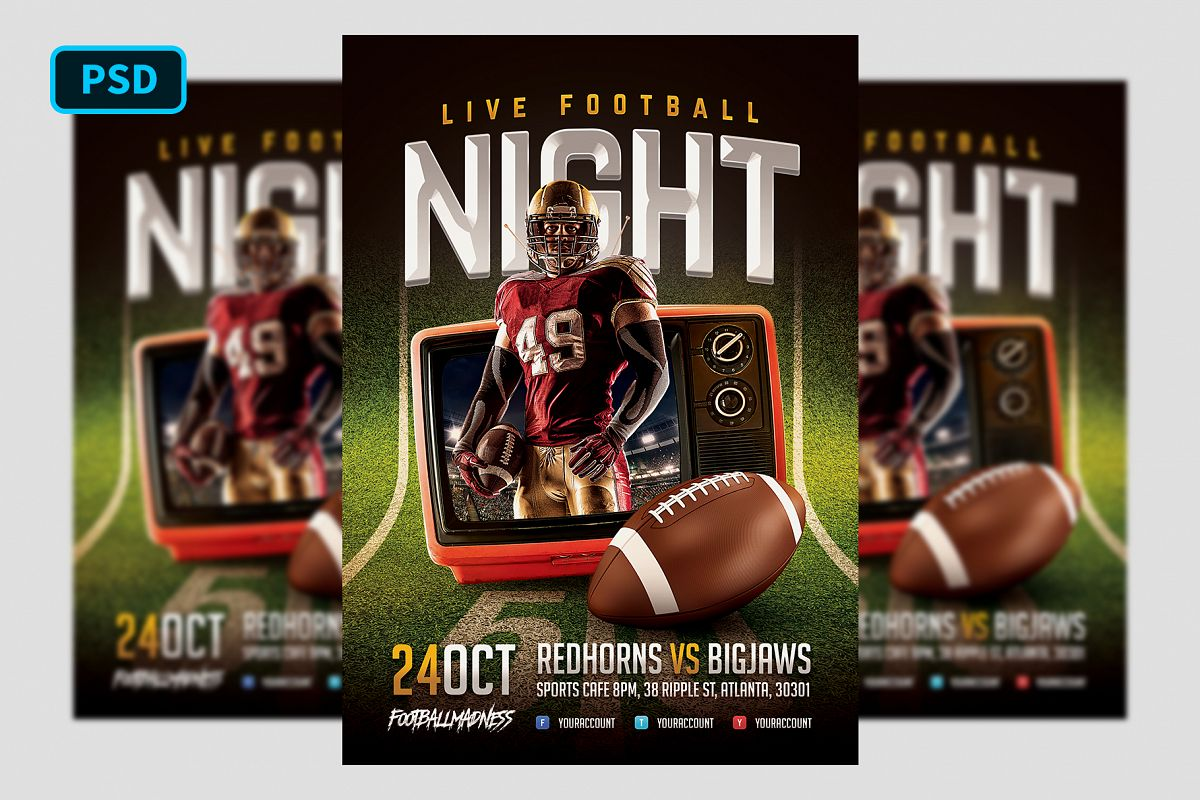 Live Football Flyer Template example image 1