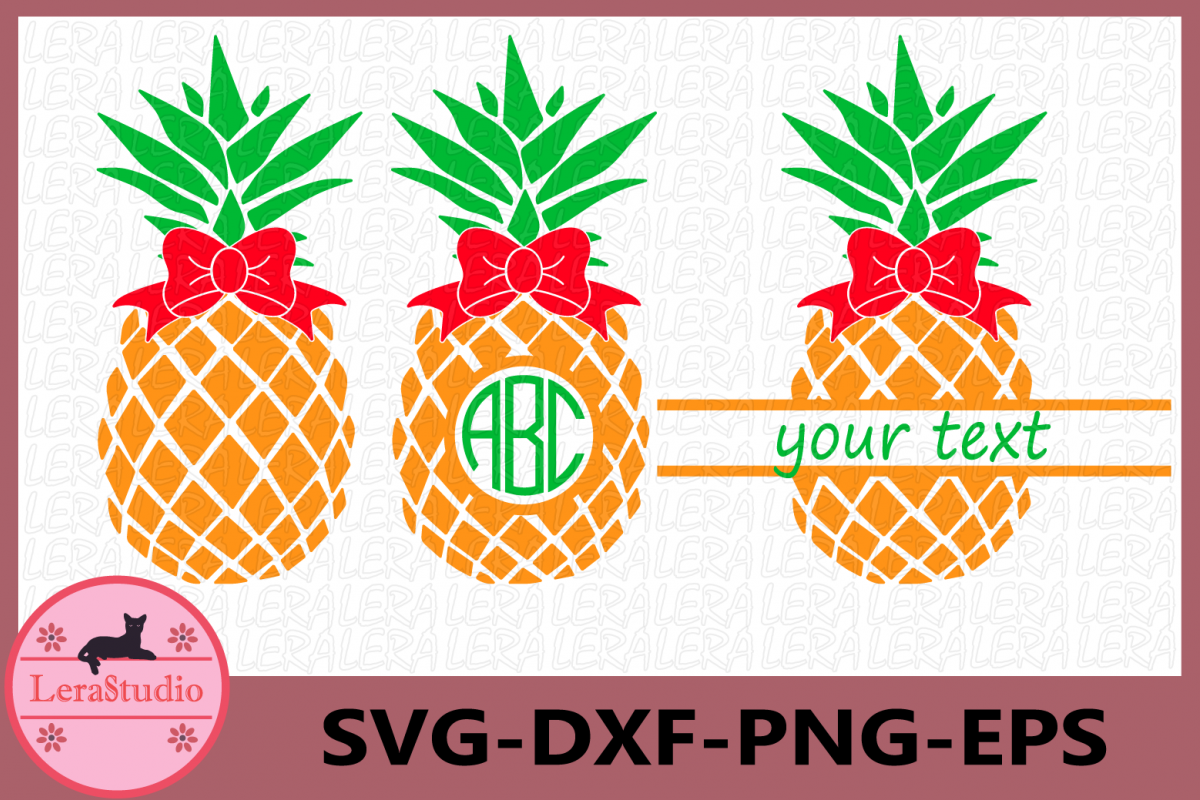 Pineapple with bow Svg, Pineapples SVG, bow, Monogram SVG example image 1