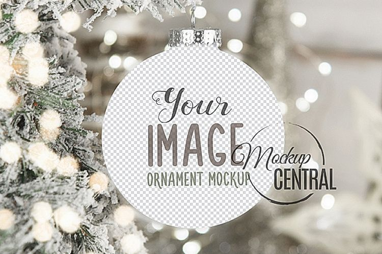 Blank Circle Round Christmas Ornament Mockup PNG Template example image 1