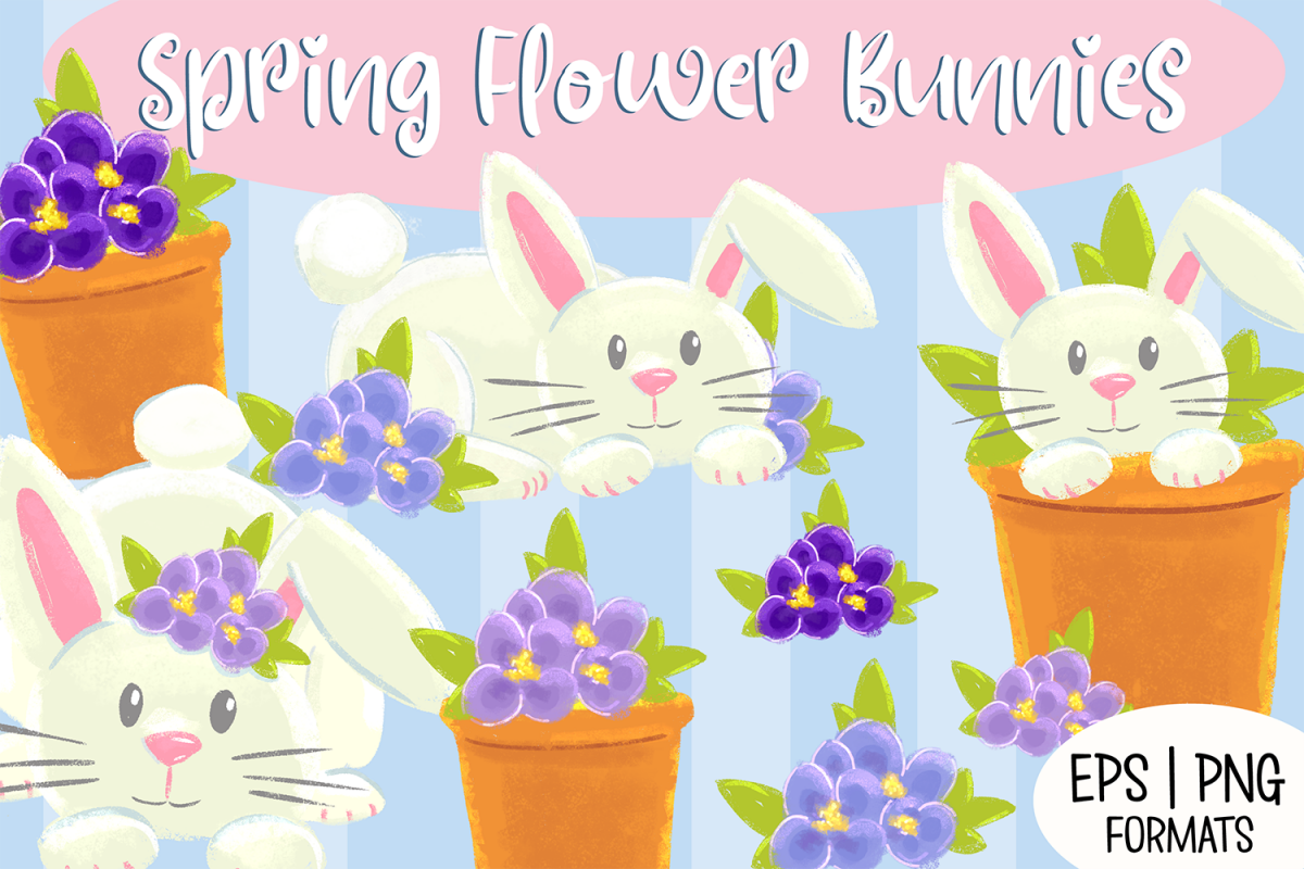 Spring Flower Bunnies Illustration Collection example image 1