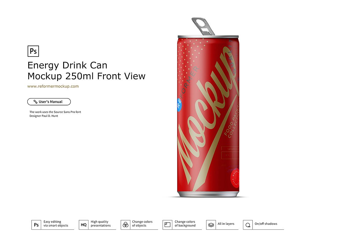 Energy Drink Can Mockup 250ml Front View example image 1