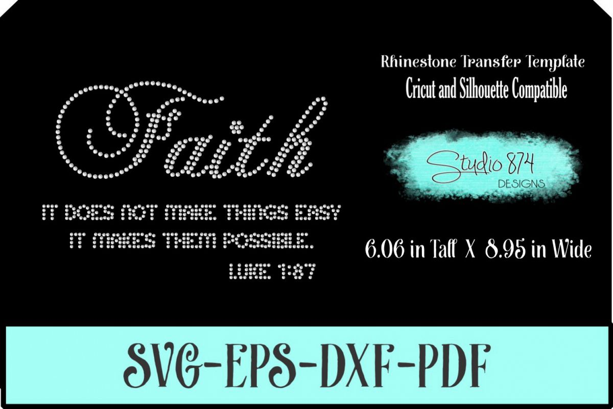 Faith Religious Rhinestone SVG Template example image 1