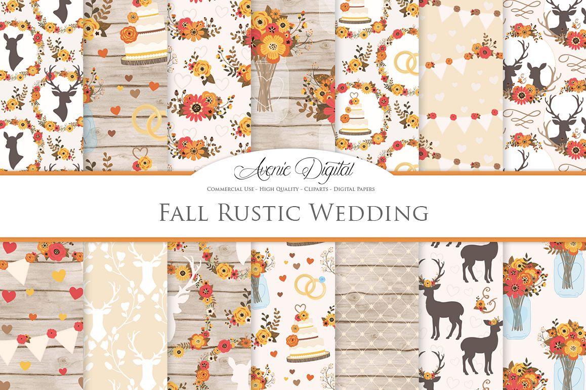 Fall Rustic Wedding Digital Paper - Autumn Rustic Deer Wedding Seamless Patterns example image 1
