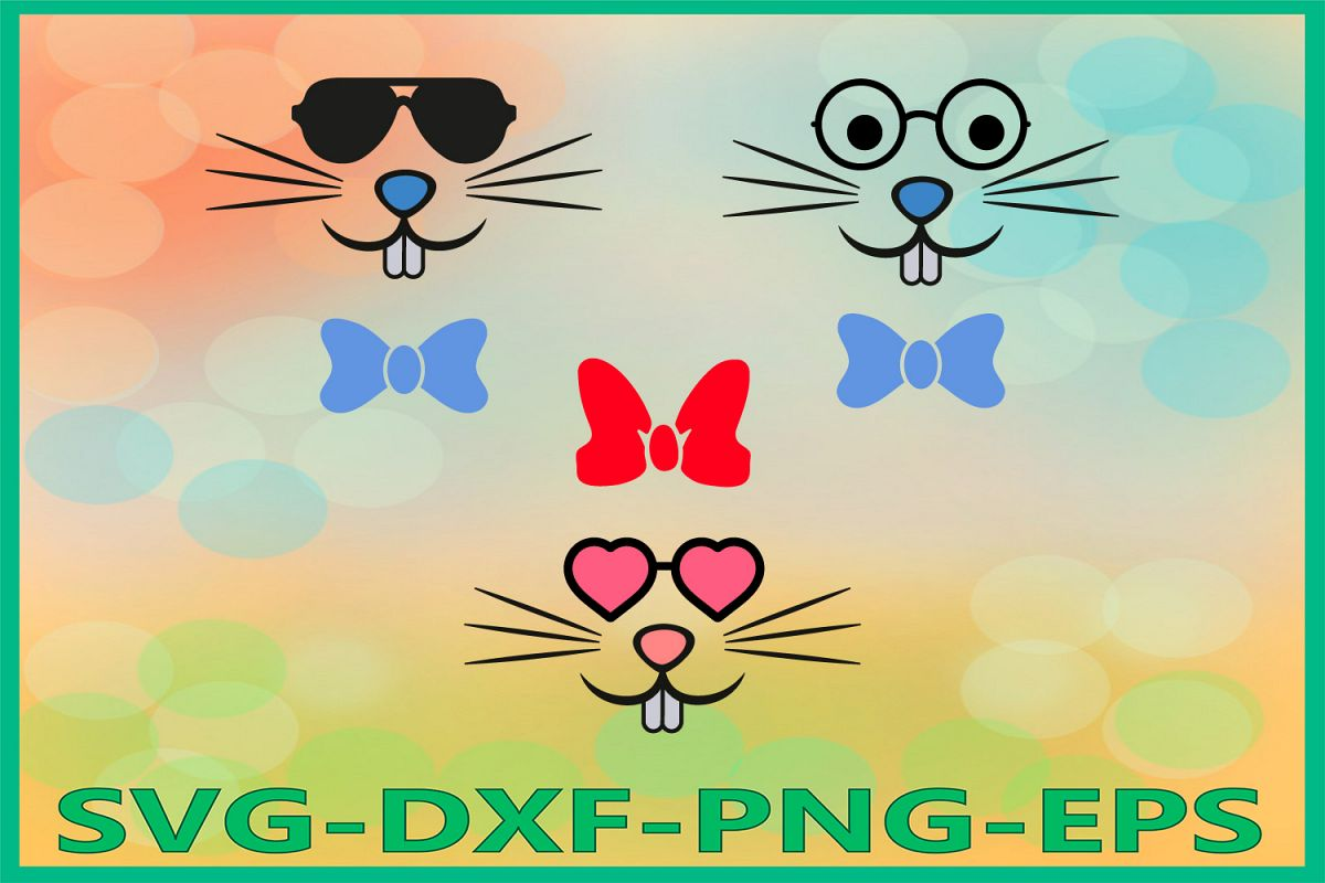 Bunny Face Svg, Easter Bunny svg, Bunny Glasses Svg, Easter example image 1