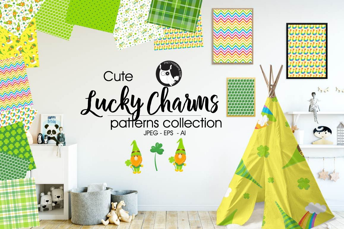 LUCKY-CHARMS , digital papers example image 1