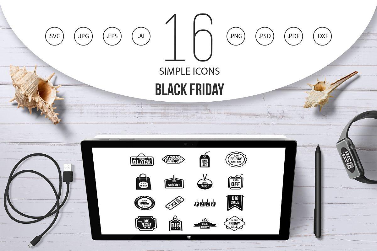 Black Friday icons set, simple style example image 1