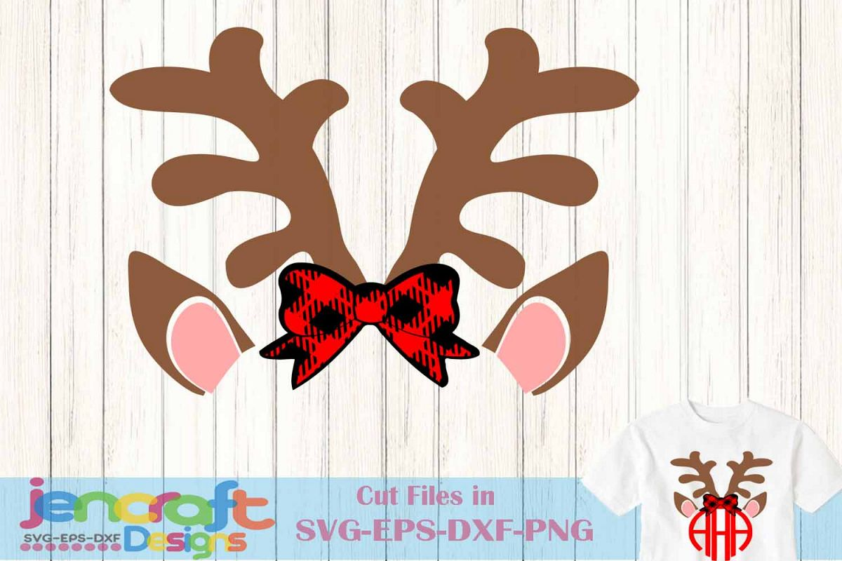 christmas svg antlers bow monogram frame deer svg example image 1 - Christmas Monograms
