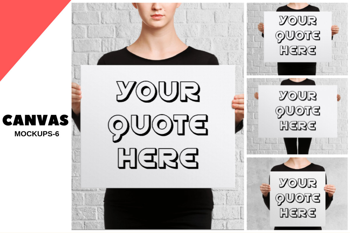 Women Holding Canvas Mockups-6 example image 1