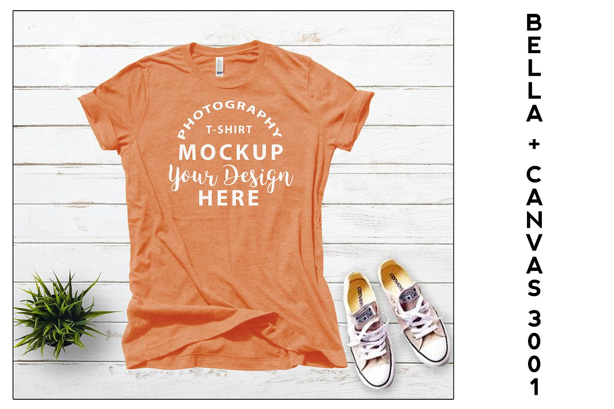 Bella Canvas 3001 T-shirt mock-up, color Heather Orange example image 1