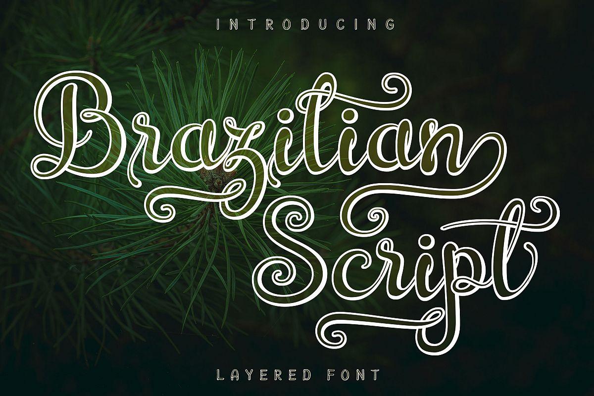 Brazilian Script LAYERED FONT example image 1