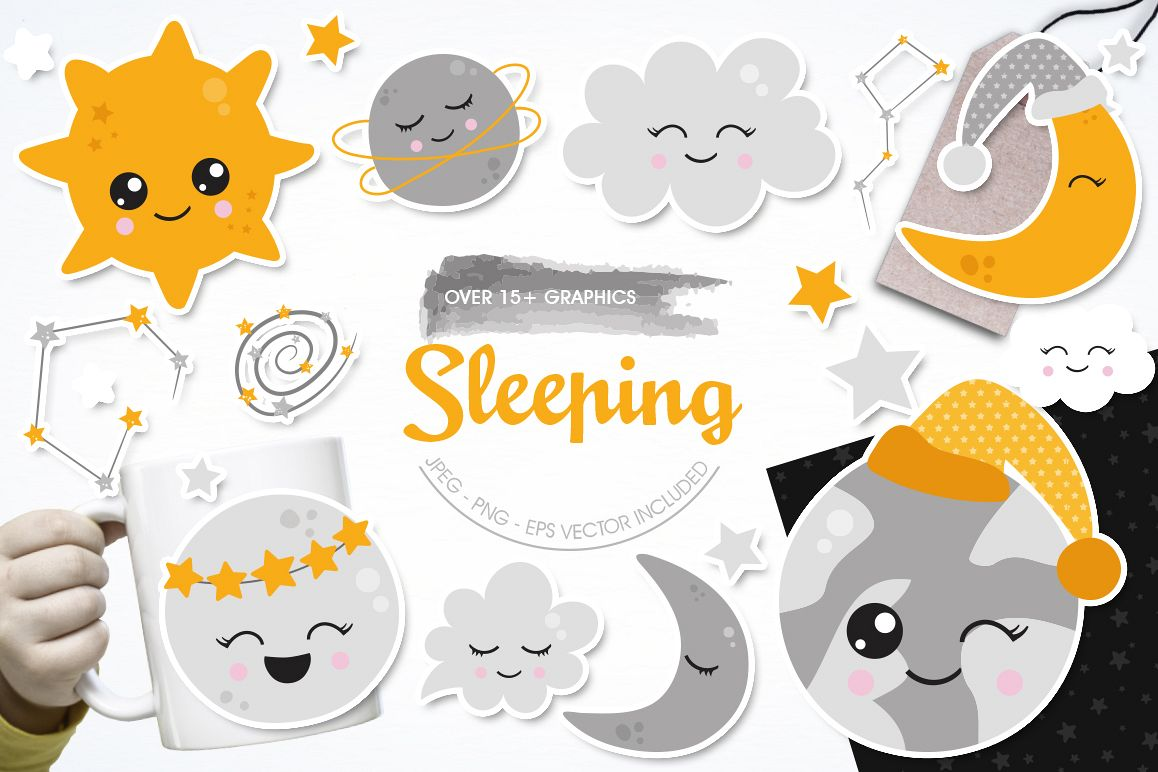Sleeping graphic and illustrations example image 1