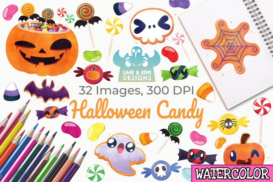 Halloween Candy Watercolor Clipart, Instant Download example image 1