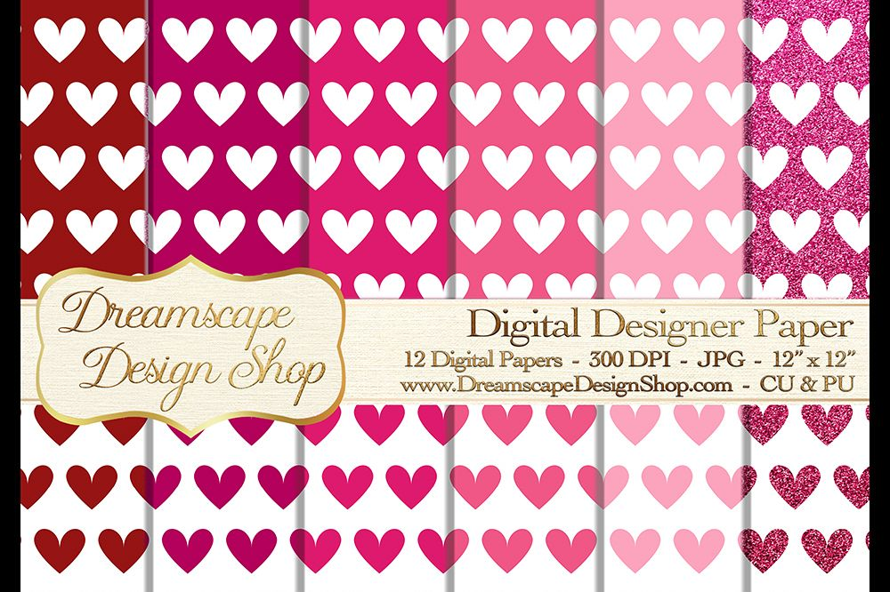 Pink and Red Hearts (Set 3) - Valentine's Day - Digital Paper - 12 JPG Images at 300 DPI - Digital Product Instant Download example image 1