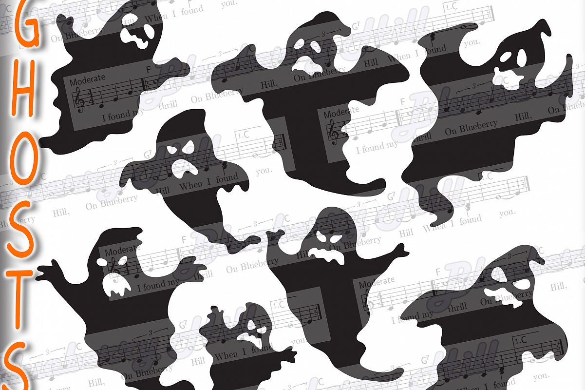 Halloween Ghosts svg - Halloween Ghosts -Ghosts svg - Ghosts example image 1
