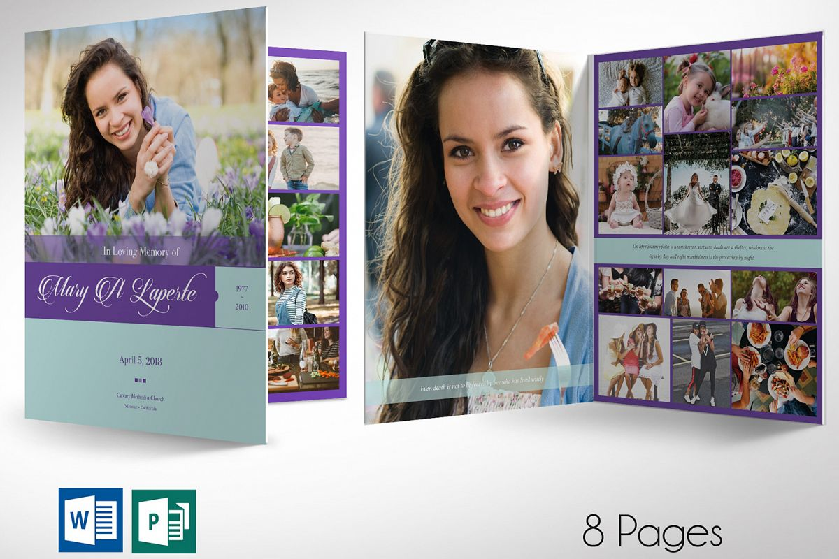 Remember Purple Teal Funeral Program Word Publisher Large example image 1
