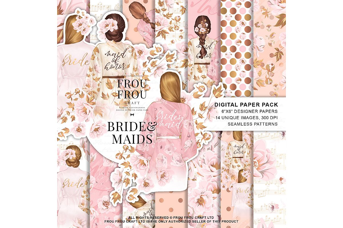 Bride And Maids Wedding Pink Gold Paper Pack example image 1