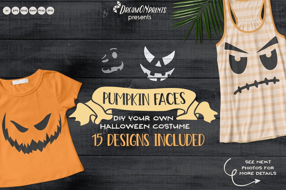 Pumpkin Faces | Funny Halloween SVG Cut files example image 1