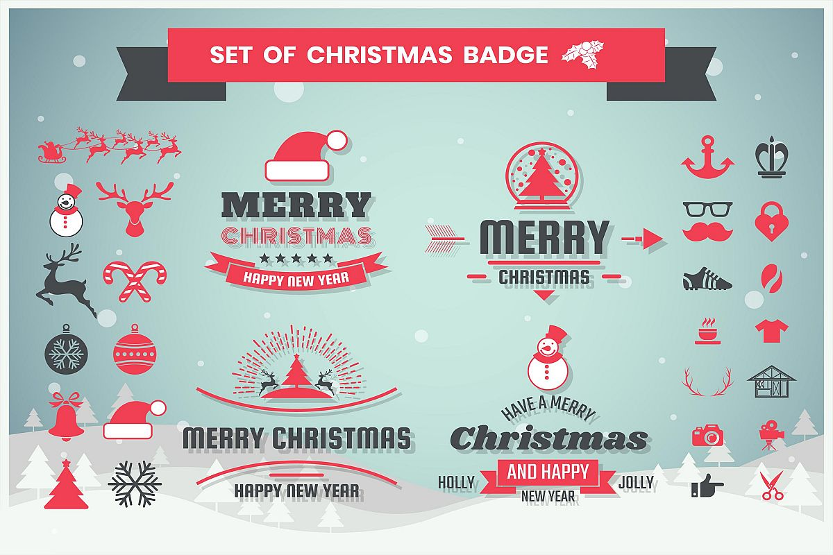 christmas Badge & Objects Vector Set example image 1