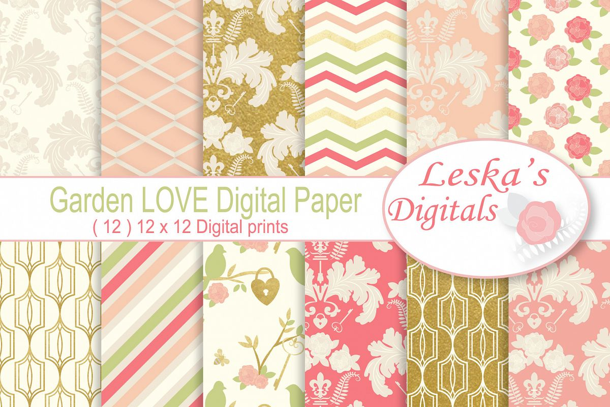 Gold Floral Digital Patterns - Digital Scrapbook Paper example image 1