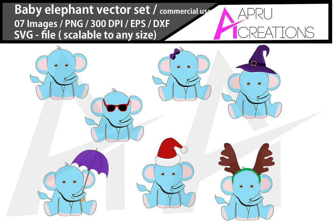 baby elephant svg/ baby elephant silhouette example image 1