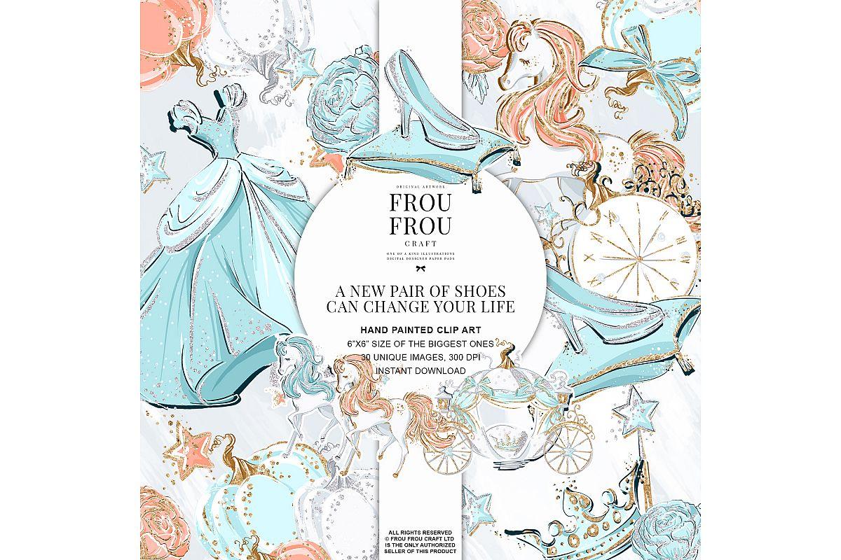 Princess Cinderella Fairy Tale Gold Glitter Clip Art example image 1