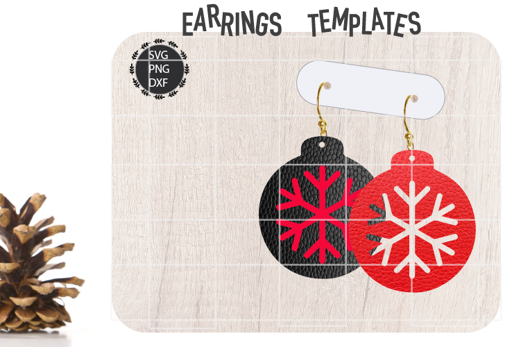 Christmas Snowflake Earrings Svg, Christmas Earrings Svg example image 1