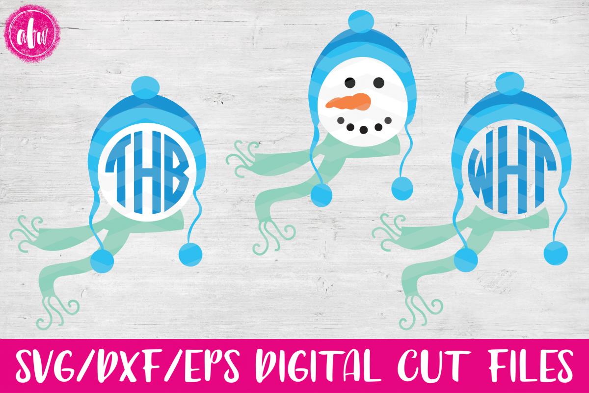 Monogram Snowman Head - SVG, DXF, EPS Cut File example image 1