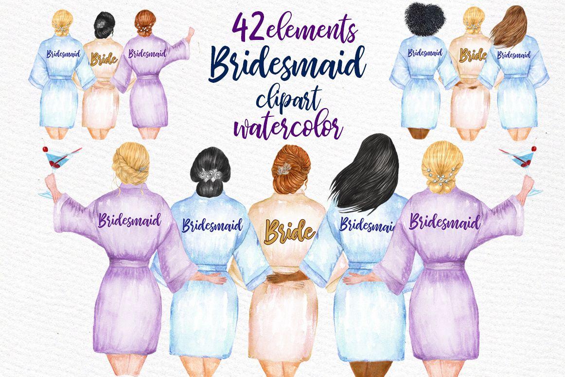 WEDDING ROBES CLIP ART Bridesmaid Clipart example image 1