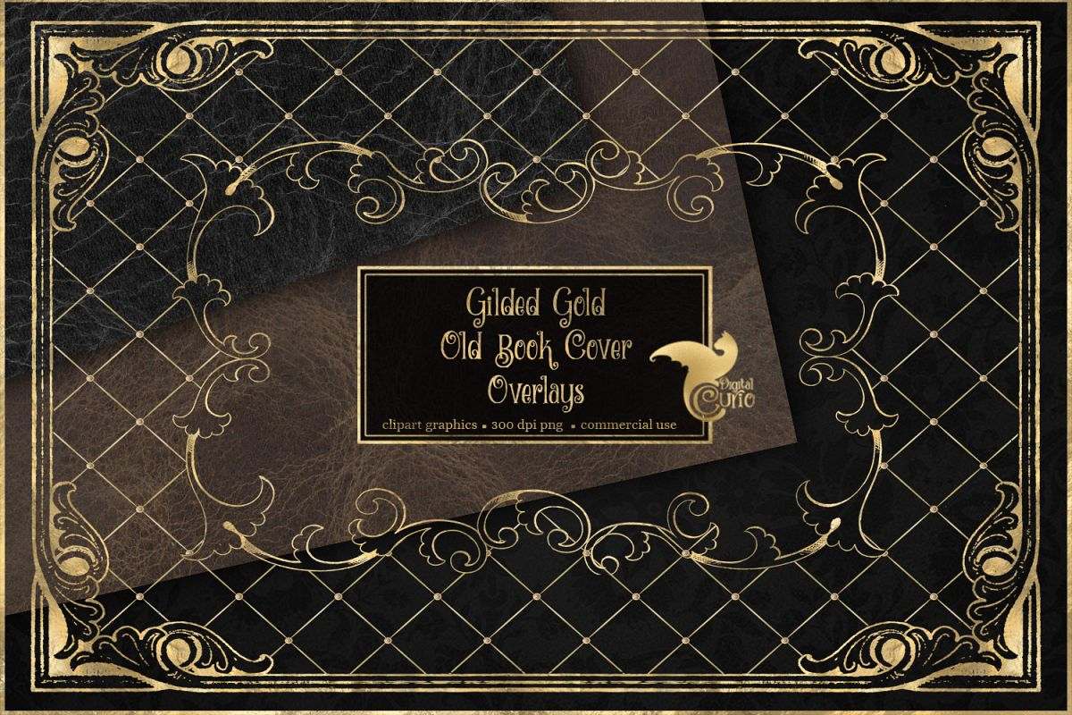 Gilded Gold Old Book Cover Overlays example image 1