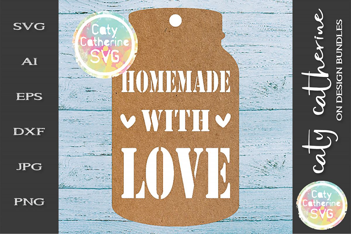 Home Made Baking Gift Tag SVG Homemade With Love example image 1