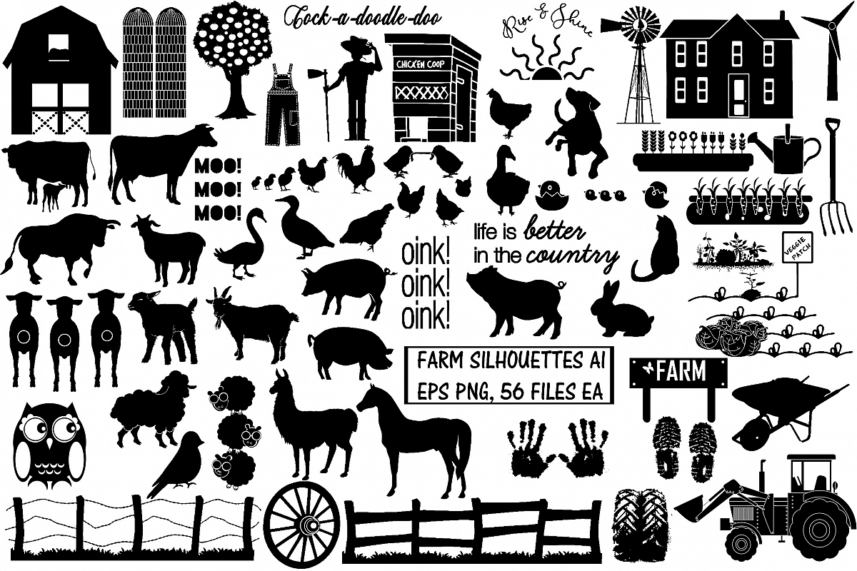 Farm & Animals Silhouettes AI EPS PNG example image 1