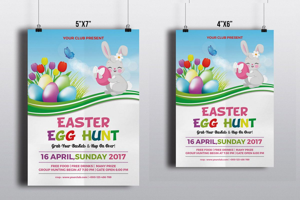 Easter Party Flyer Template | MS Word & Photoshop template example image 1