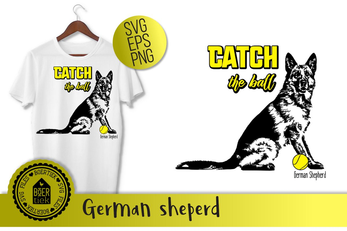 Catch the ball, german sheperd, SVG file example image 1