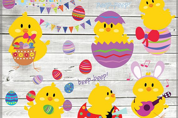 Easter chicks clip art - Easter clipart - Easter images example image 1