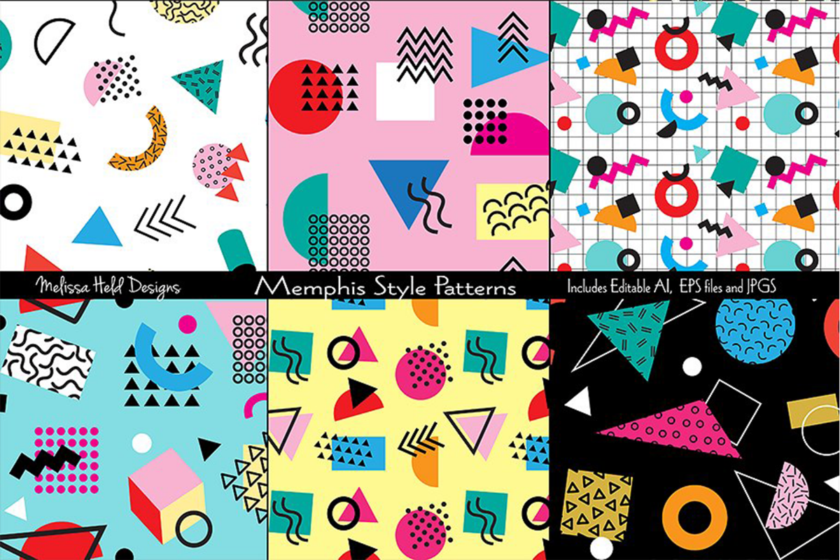 Memphis Style Seamless Patterns example image 1
