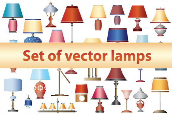 Vector set household lamps and chandeliers example image 1
