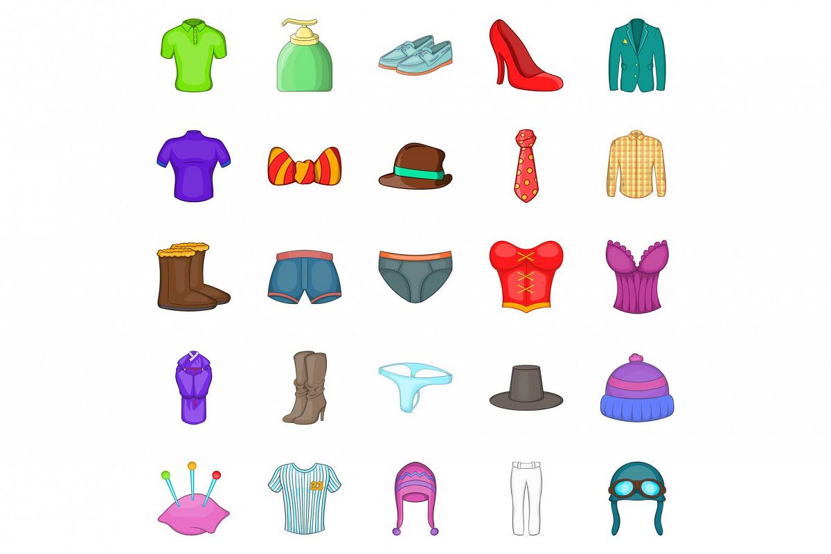 Shorts icons set, cartoon style example image 1