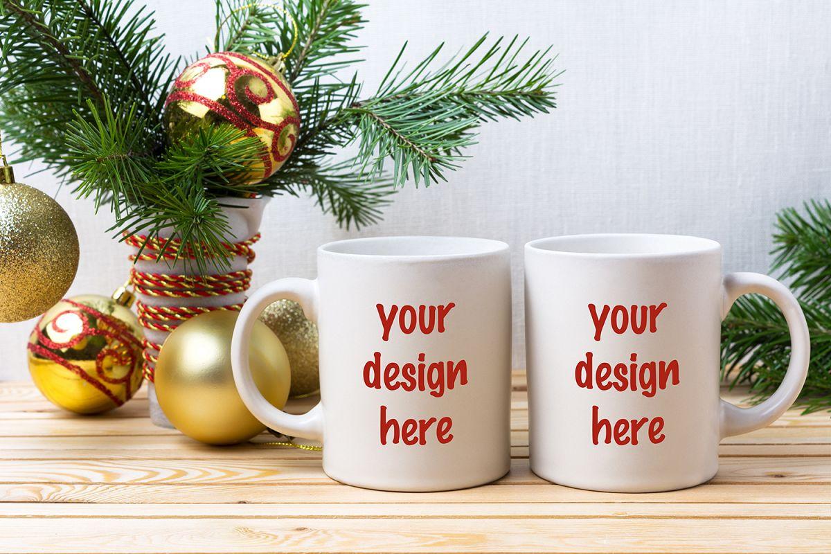 Coffee Christmas Ornaments.Two White Coffee Mug Mockup With Golden Christmas Ornaments